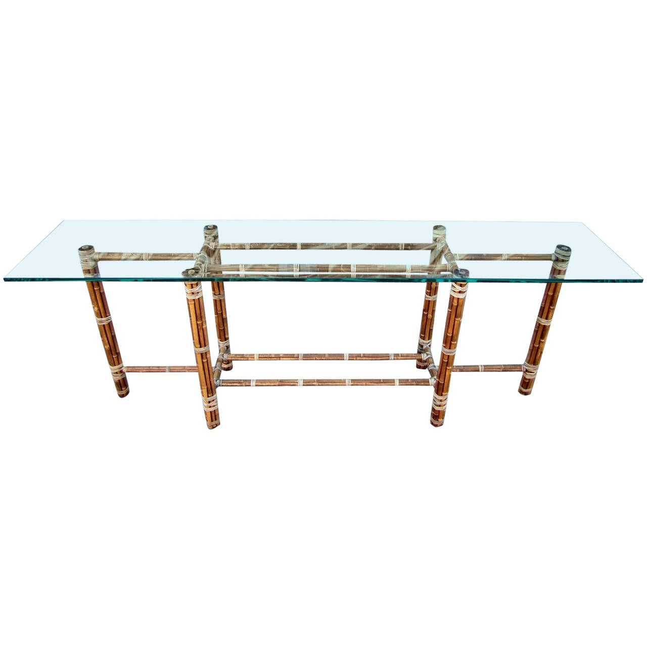 Large reed bamboo and leather sofa table by mcguire for for Sofa table large