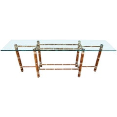 Large Reed Bamboo and Leather Sofa Table by McGuire