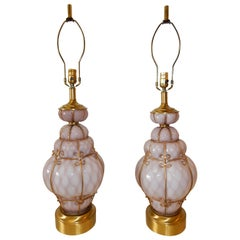 Seguso Murano, Italy Bubble Cage Art Glass Table Lamps In Violet