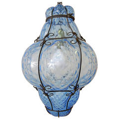 Italian Cage Art Glass Pendant Lamp by Seugso in Aqua Blue