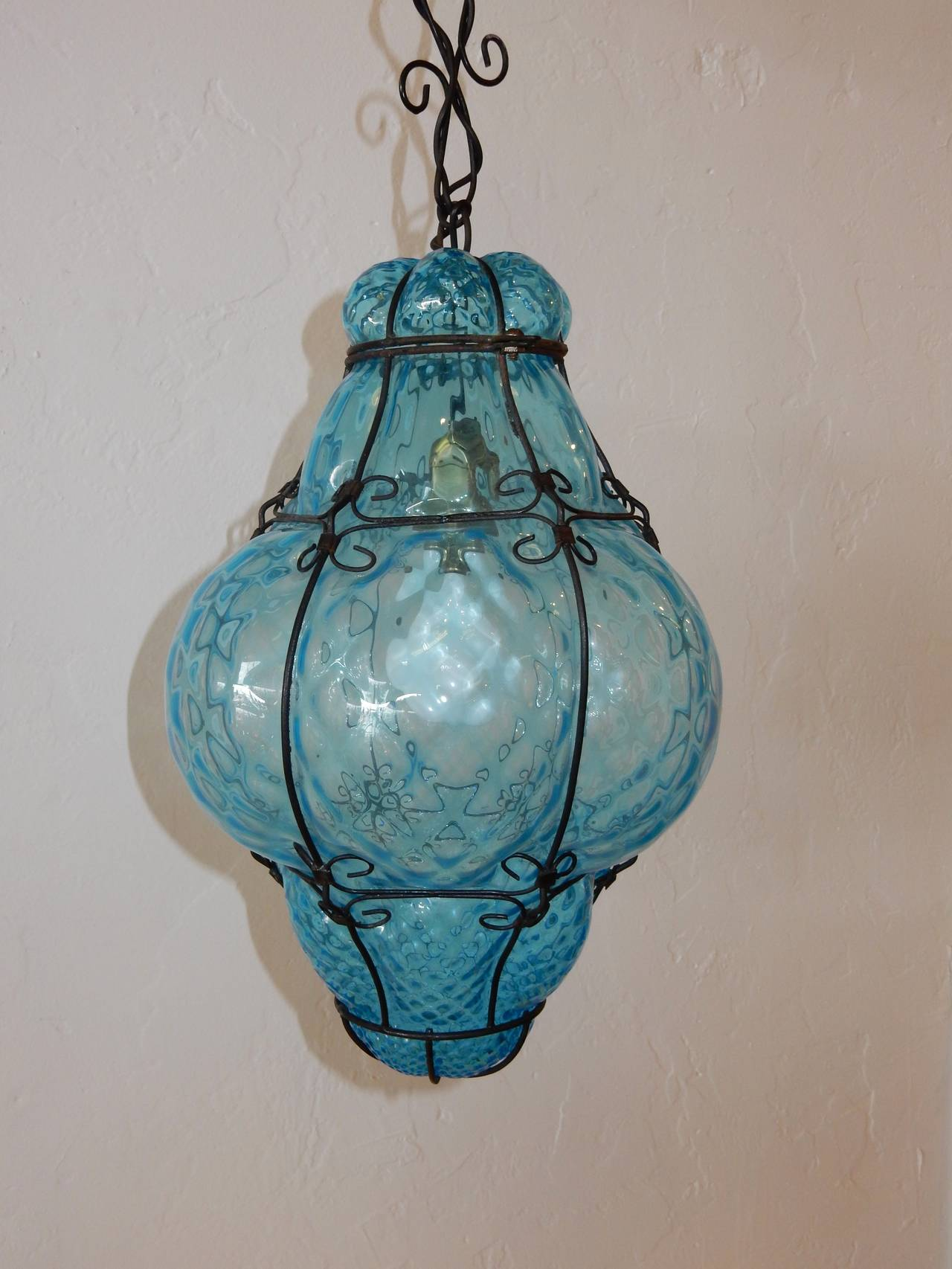Italian cage art glass pendant lamp by seugso in aqua blue at 1stdibs hollywood regency italian cage art glass pendant lamp by seugso in aqua blue for sale aloadofball Image collections
