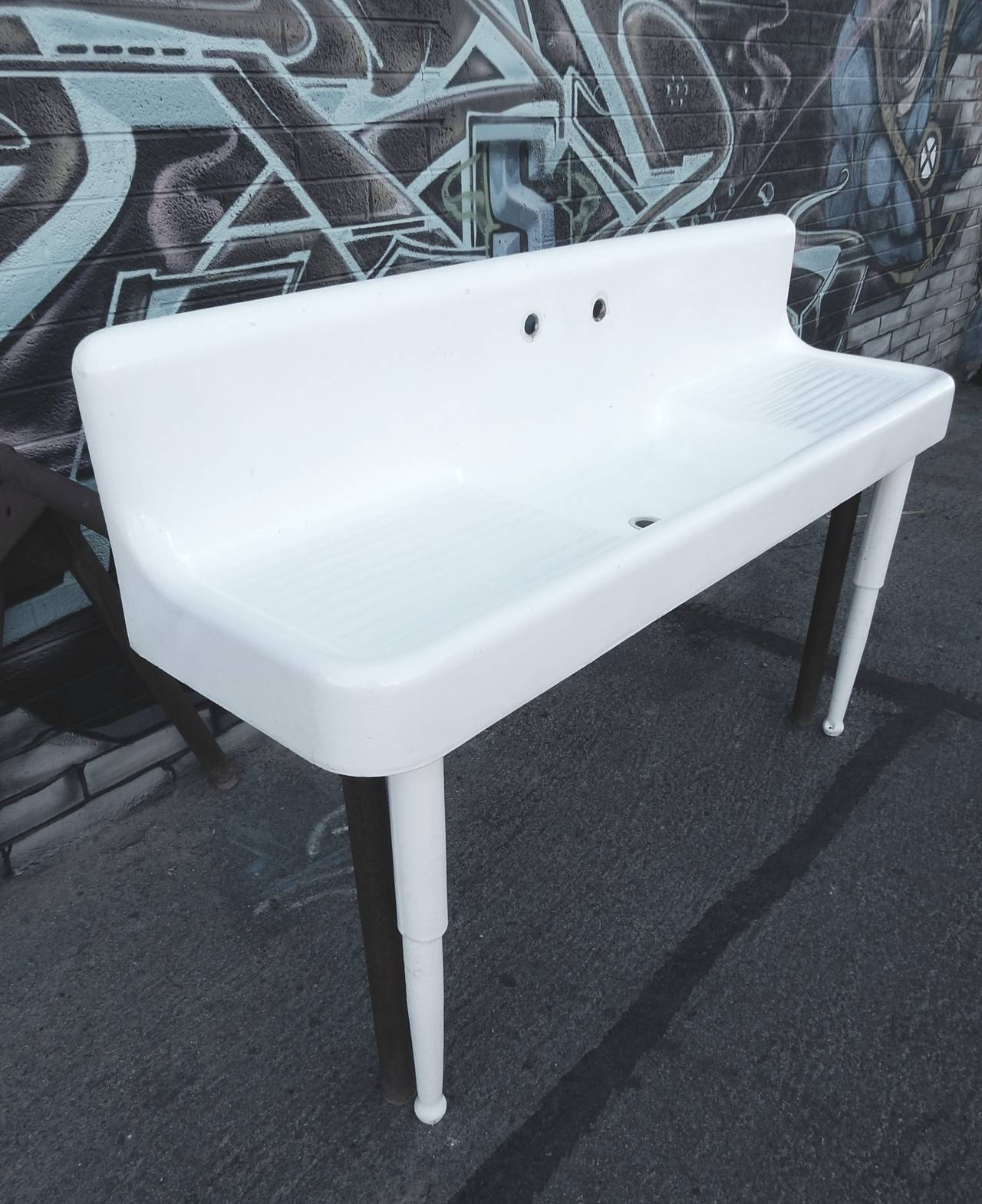 1930s Cast Iron Porcelain Double Drain Board Farmhouse Sink For Sale at 1stdibs
