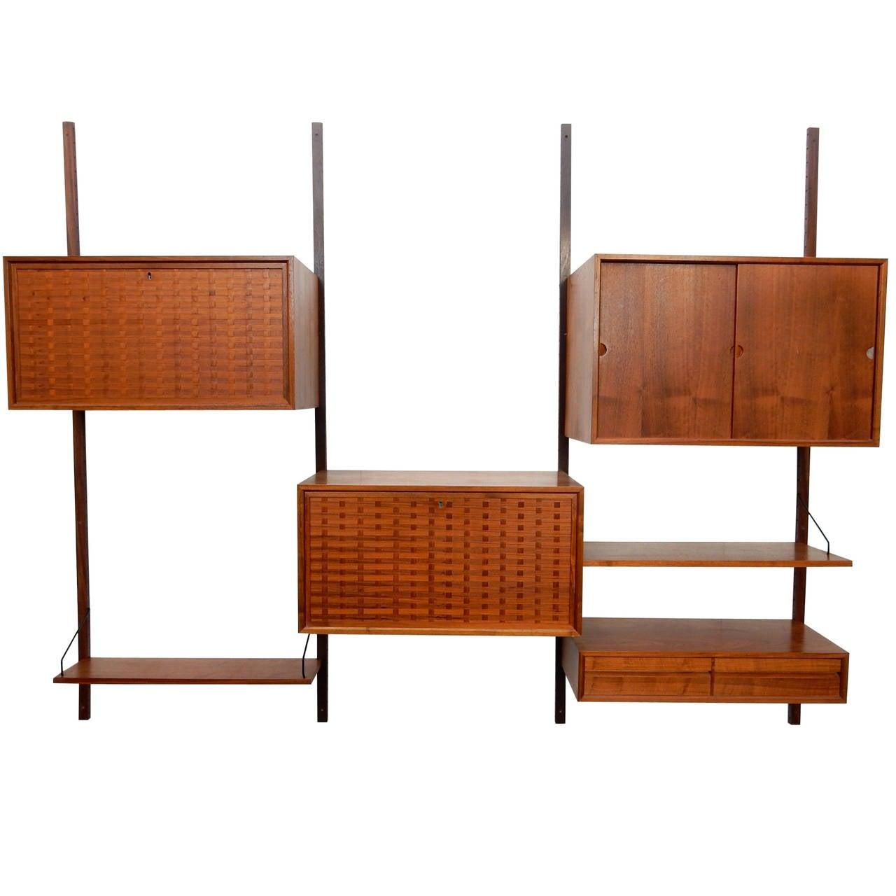 mid century modern poul cadovius cado wall unit cabinet. Black Bedroom Furniture Sets. Home Design Ideas