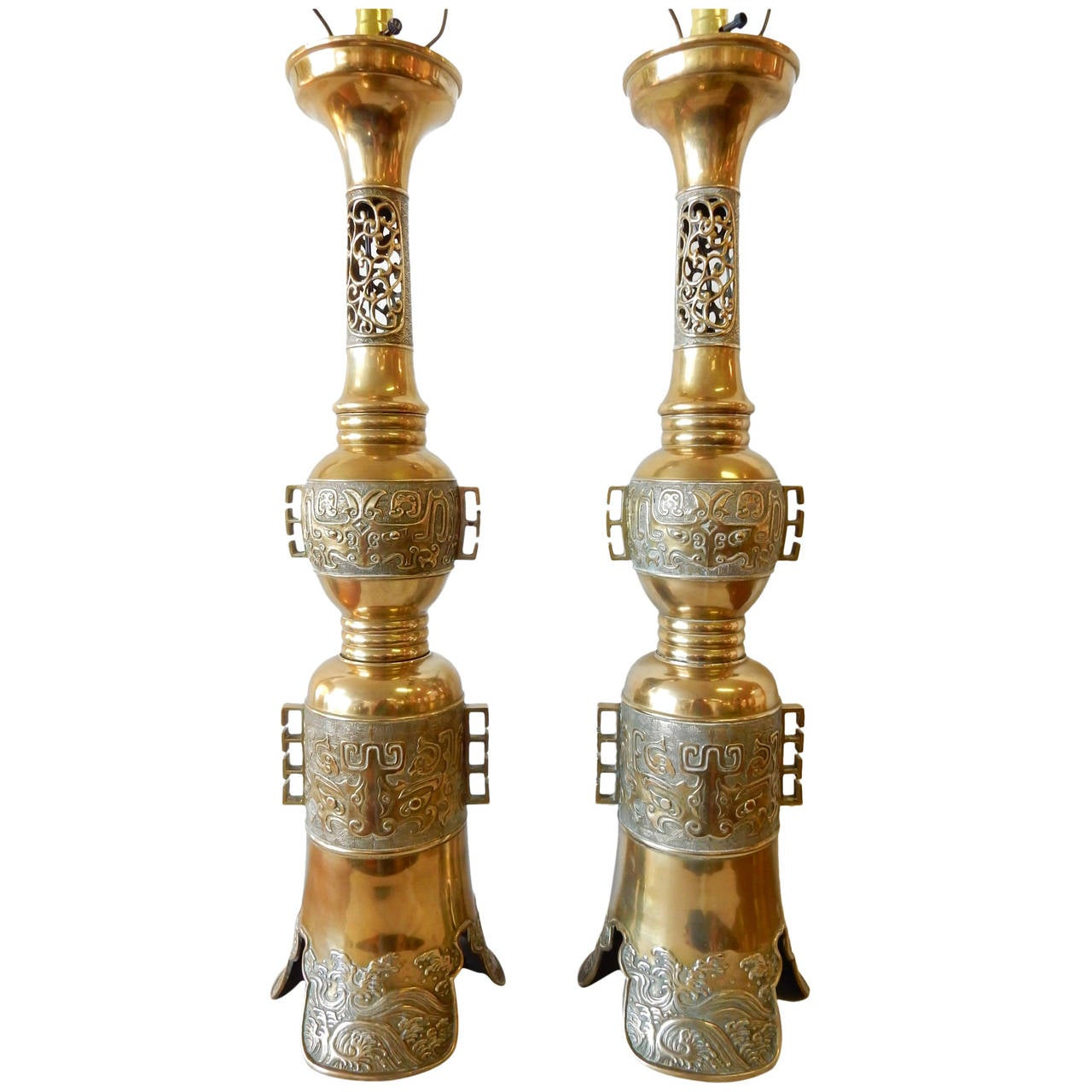 hollywood regency james mont attributed asian brass table lamps
