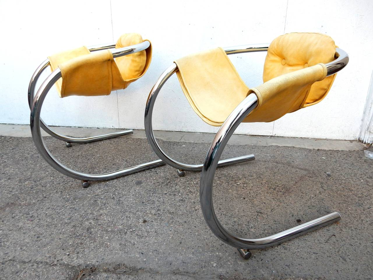 Mod Chrome Tube Cantilever Sling Chairs By Byron Botker