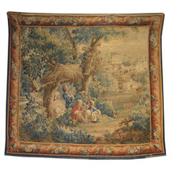 French 18th Century Aubusson Tapestry 'The Young Bird-Trappers'