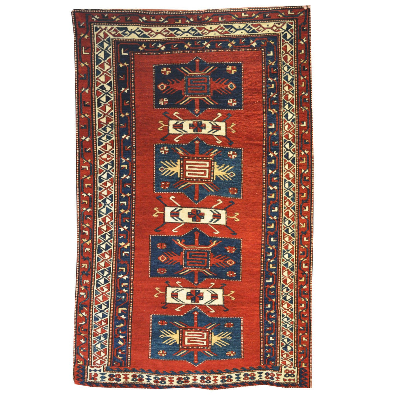 Breathtaking Large Geometric Red 10x12 Bakhtiari Persian: Antique Caucasian TOTEM Bordjalu-Kazak Carpet At 1stdibs