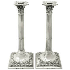 Antique Sterling Silver Corinthian Column Candlesticks
