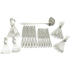 German Silver Canteen of Cutlery for Six Persons, Antique, circa 1930
