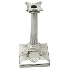 Sterling Silver Corinthian Column Taper Candlestick, Antique George III