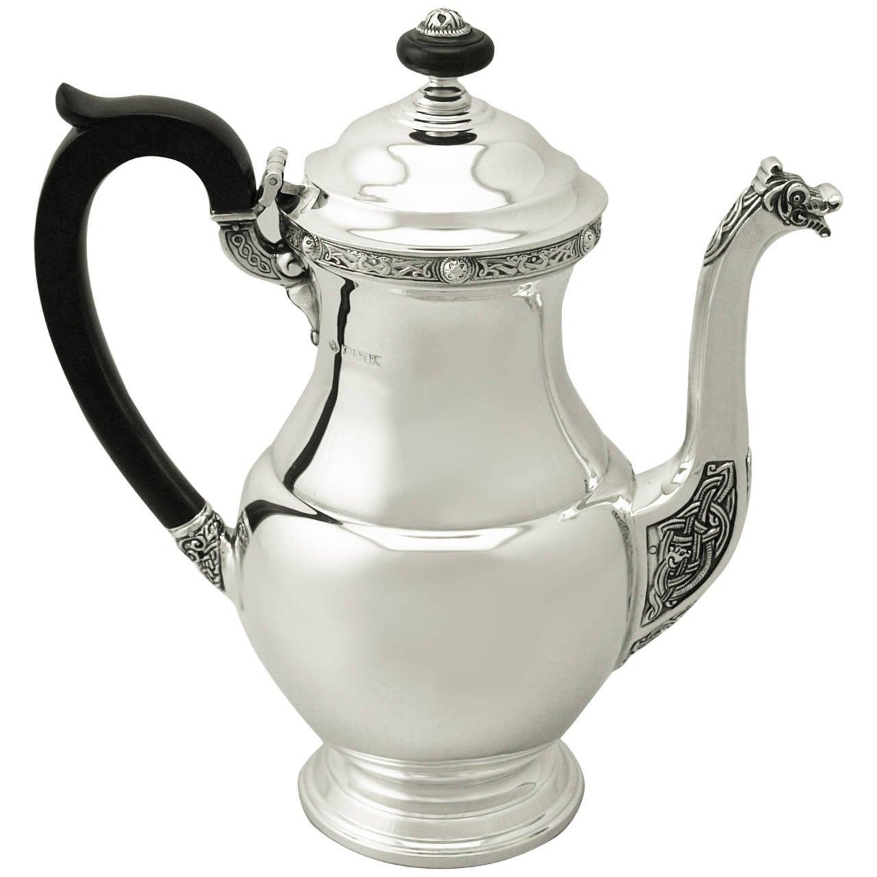 Sterling Silver Coffee Pot, Vintage Elizabeth II