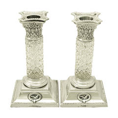 Sterling Silver and Glass Candlesticks, Antique Victorian