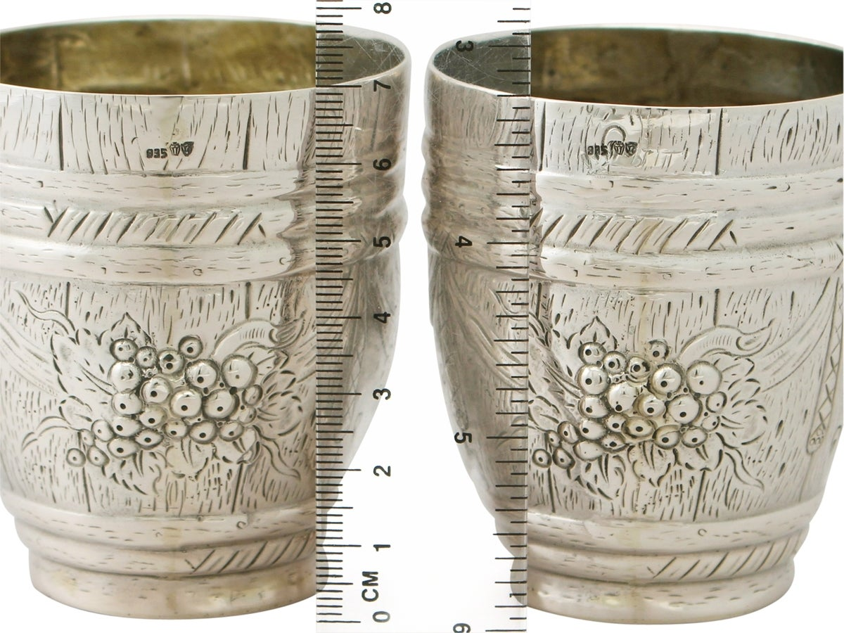 German Silver Beakers, Antique circa 1900 For Sale 4