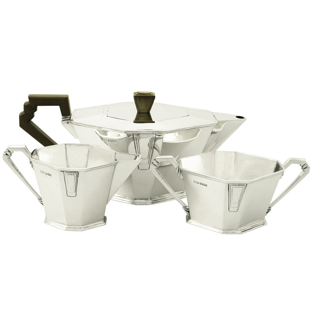 Antique George v Sterling Silver Three-Piece Tea Service, Art Deco Style