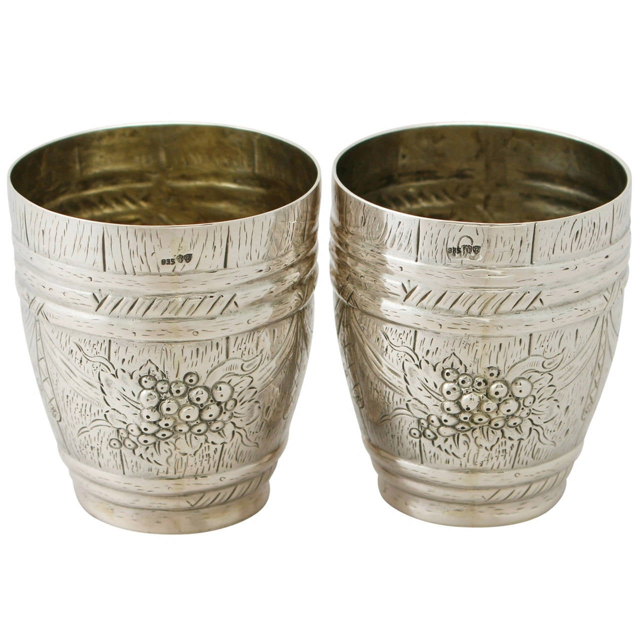 German Silver Beakers, Antique circa 1900 For Sale