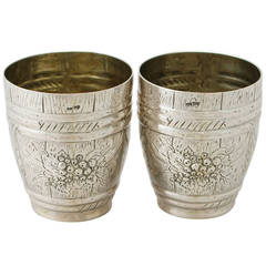 German Silver Beakers, Antique circa 1900