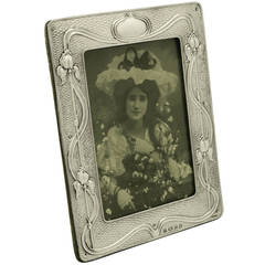 Antique Edwardian Sterling Silver Photograph Frame, Art Nouveau Style