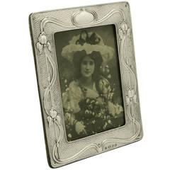Antique Edwardian Sterling Silver Photograph Frame, Art Nouveau Style