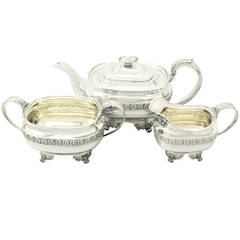 Sterling Silver Three-Piece Tea Service in the Regency Style, Antique George IV