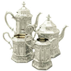 Sterling Silver Four-Piece Tea and Coffee Service, Antique Victorian