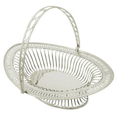 Sterling Silver Fruit Basket, Antique Edwardian