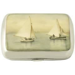 Sterling Silver and Enamel Cigarette Case - Antique Victorian