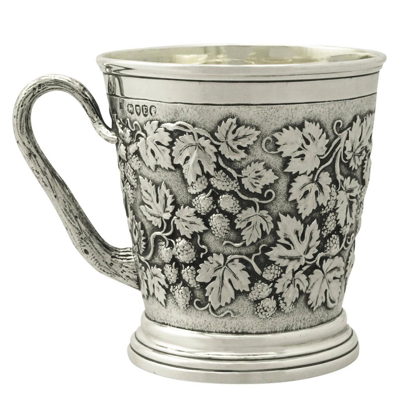 Sterling Silver Christening Mug by John Hunt & Robert Roskell, Victorian