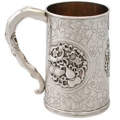 1850s Antique Chinese Export Silver Mug