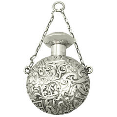 Sterling Silver Scent Flask, Antique Victorian