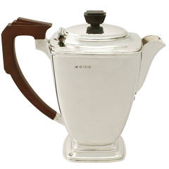 Antique George VI Sterling Silver Coffee Pot, Art Deco Style