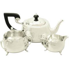 Antique George V Sterling Silver Three-Piece Tea Service, Art Nouveau Style