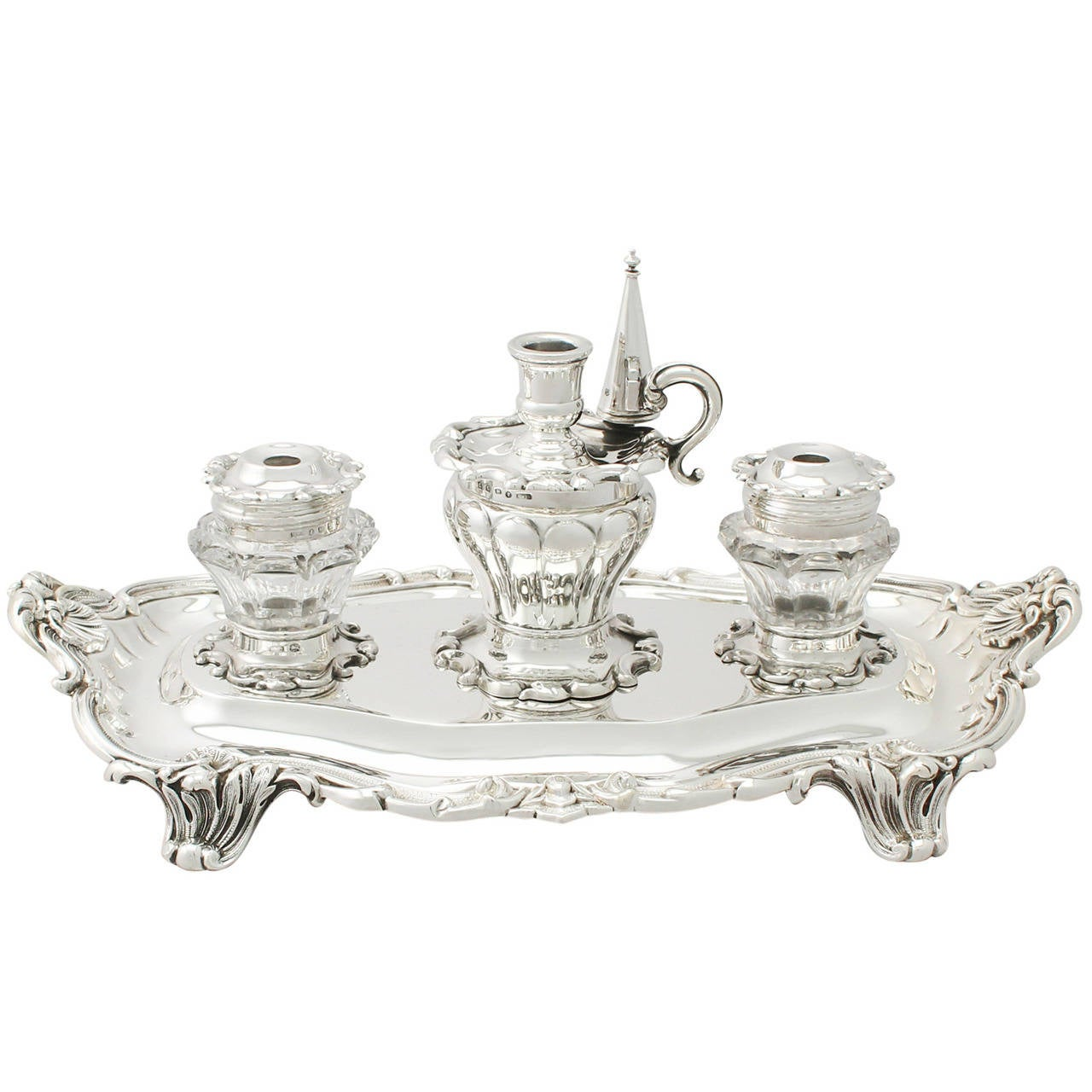Sterling Silver And Glass Desk Standish Antique Victorian