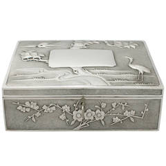 Chinese Export Silver Locking Box - Antique Circa 1890