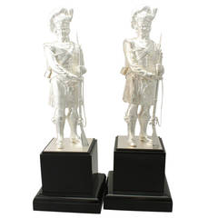 Pair of Sterling Silver 'Gordon Highlanders' Table Ornaments, Contemporary