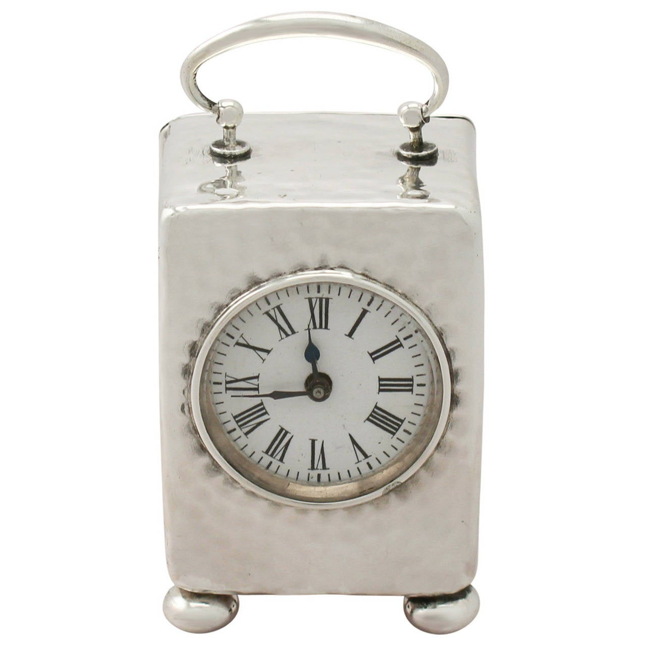 Sterling Silver Boudoir Clock, Antique Victorian For Sale at 1stdibs