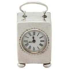 Sterling Silver Boudoir Clock, Antique Victorian
