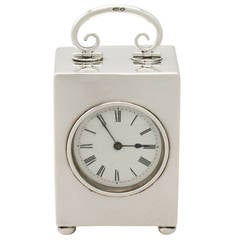 Antique Swiss Sterling Silver Boudoir Clock, 1908