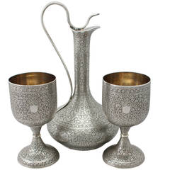 1880s Indian Silver Claret Jug and Matching Goblets