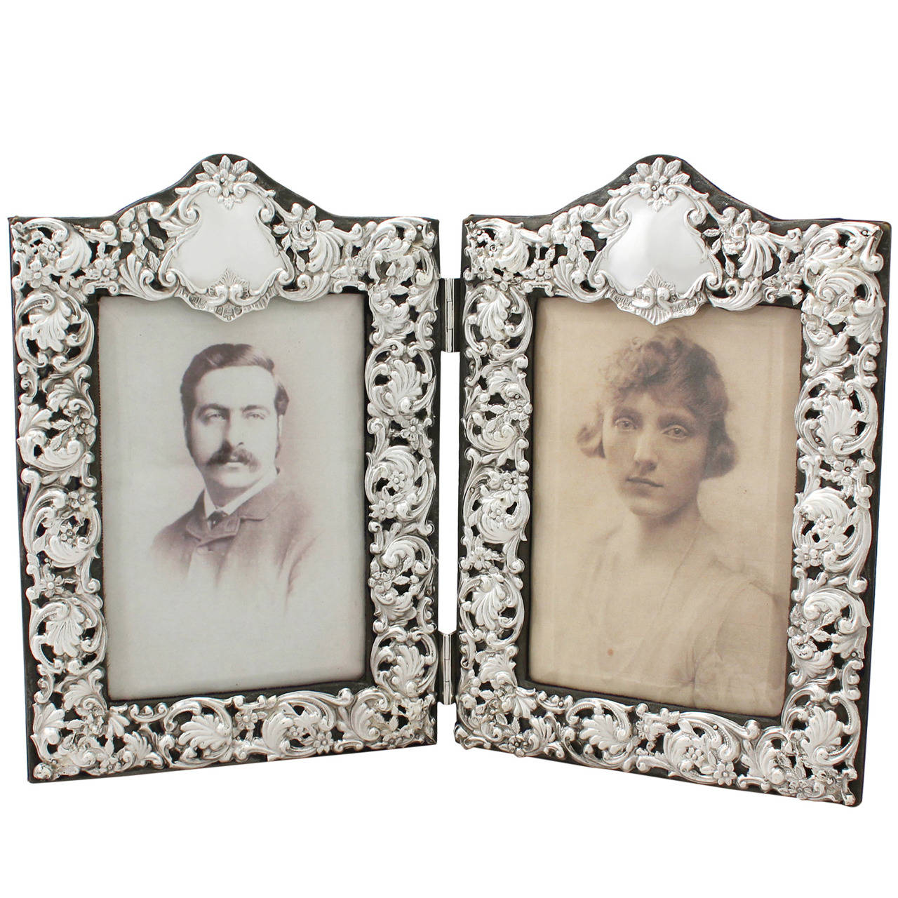 Sterling Silver Double Photograph Frame, Antique Victorian