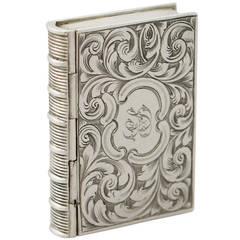 Sterling Silver 'Book' Vinaigrette - Antique Victorian