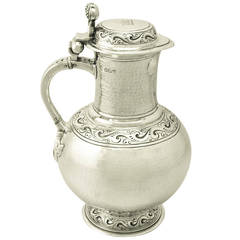 Antique Edwardian Britannia Standard Silver Flagon, Arts and Crafts Style