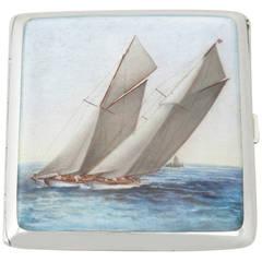 Austrian Silver and Enamel Cigarette Case With Nautical Interest - Antique