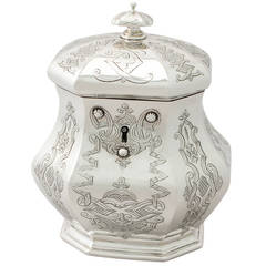 Antique Early Victorian Sterling Silver Locking Tea Caddy
