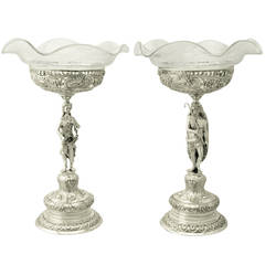 19th Century Antique German Silver, Cut and Etched Glass Centerpieces