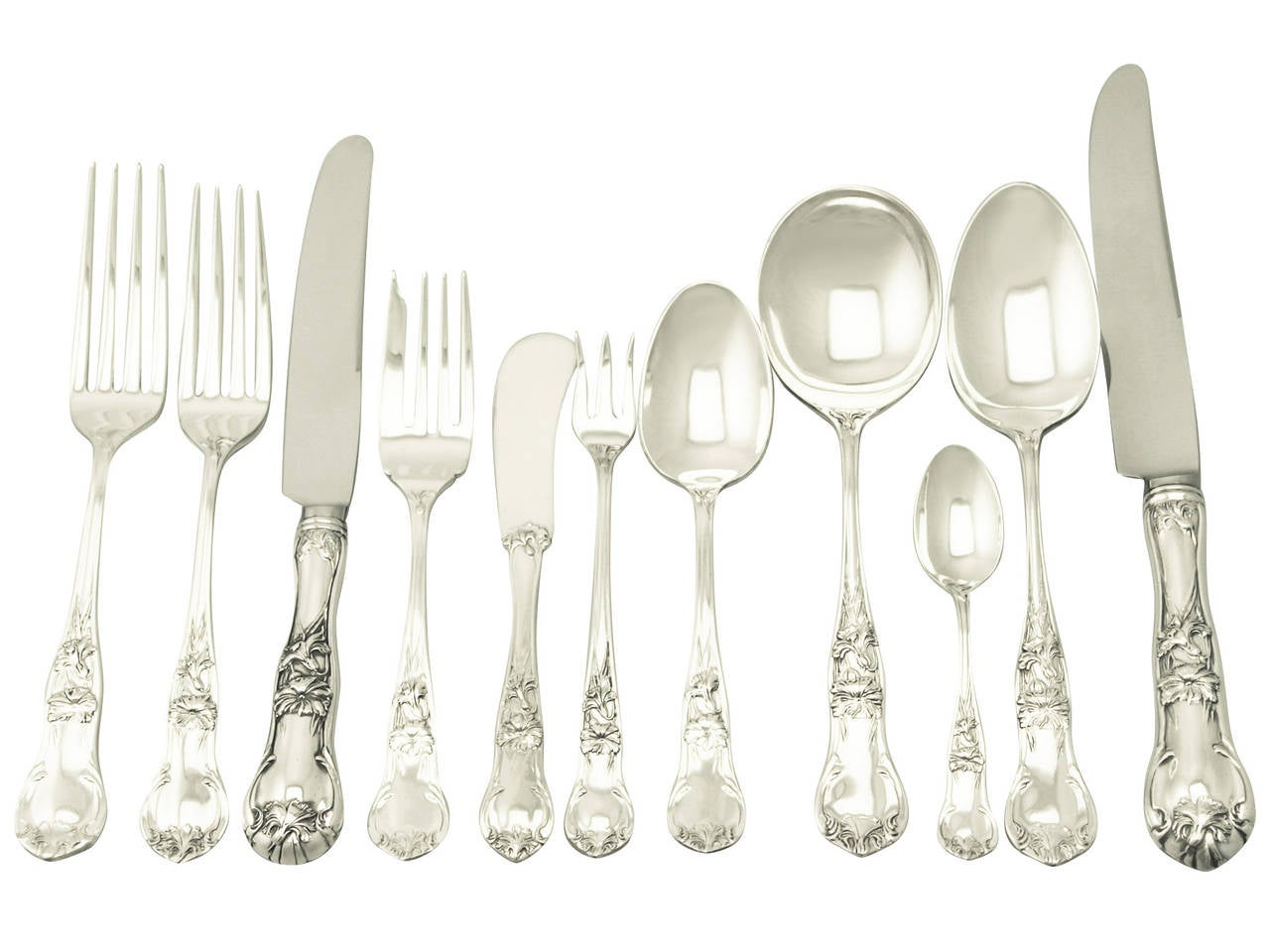 Contemporary Flatware Mexican Sterling Silver Canteen Of Cutlery For 12 Persons