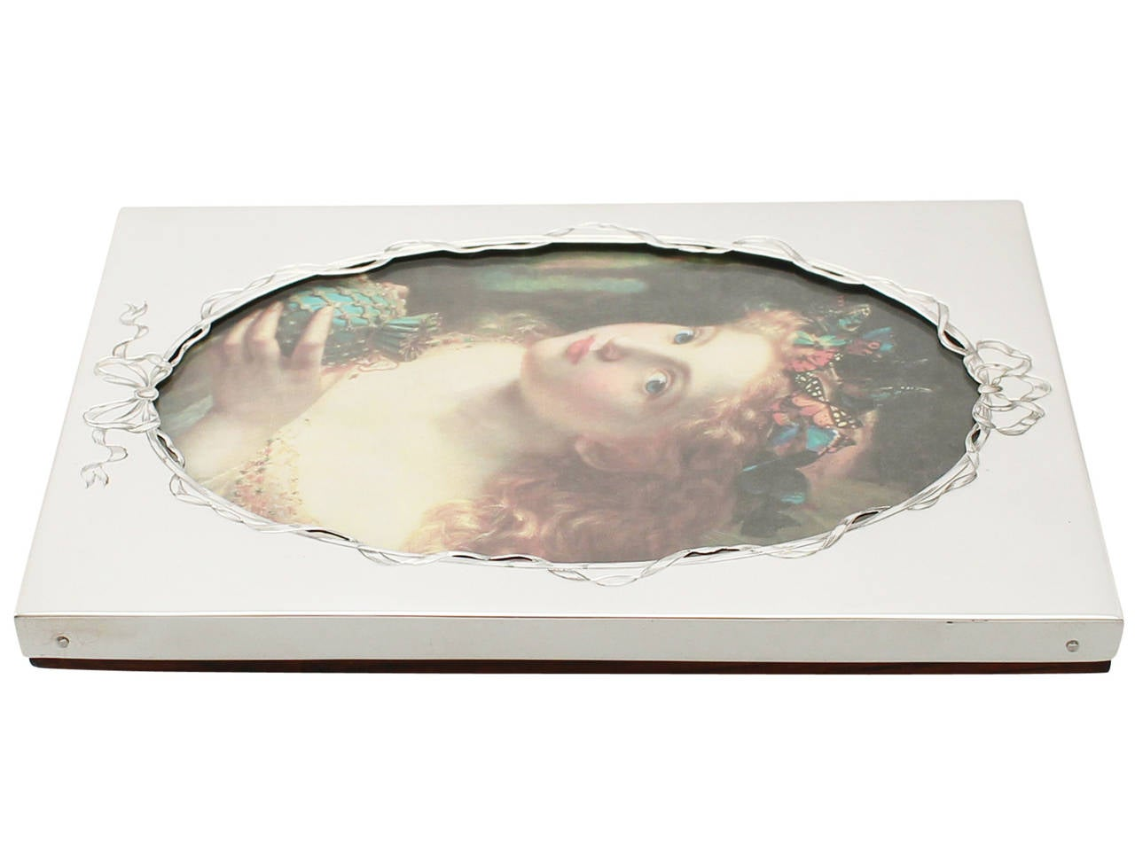 Glass Sterling Silver Photograph Frame, Antique Victorian For Sale