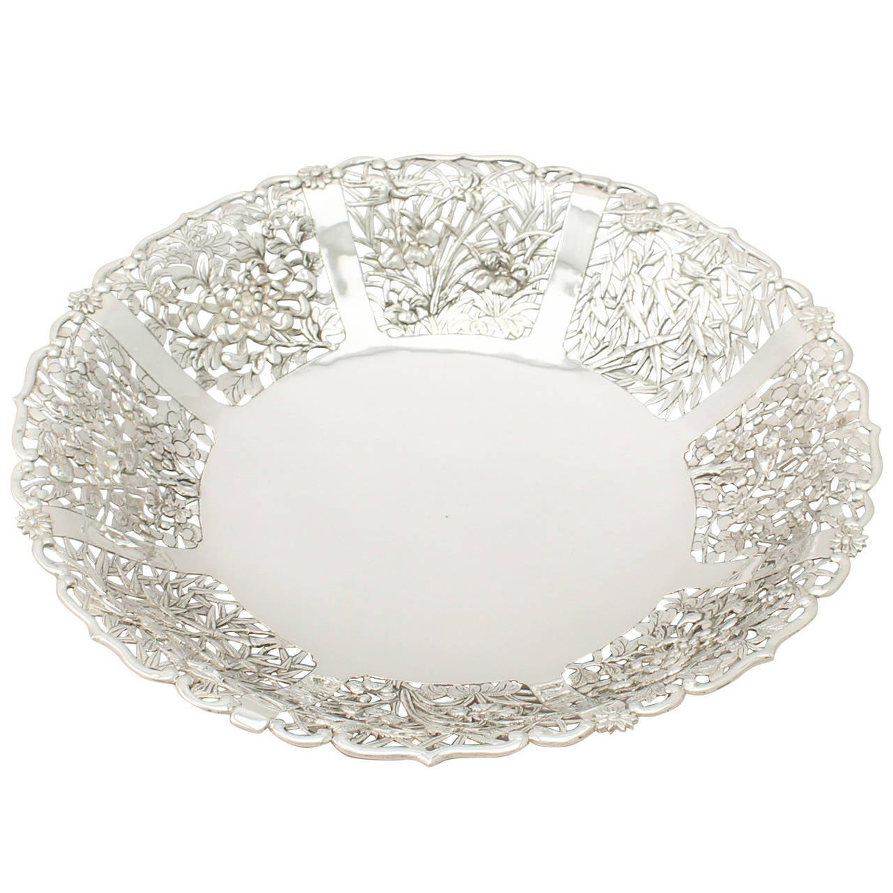 Chinese Export Silver Fruit Dish - Antique Circa 1880