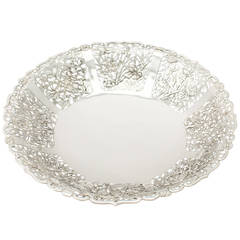 1880s Antique Chinese Export Silver Fruit Dish