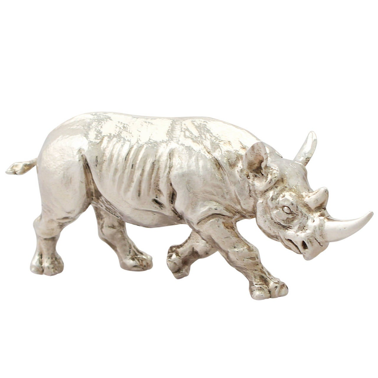 Sterling Silver Model of a Rhinoceros, Contemporary 2011