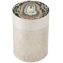 Sterling Silver and Agate Box/Canister by David Deakin - Vintage Elizabeth II